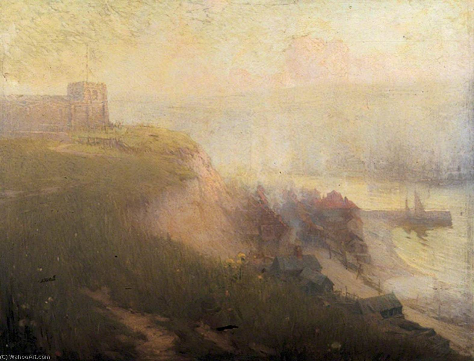old whitby , north yorkshire, huile sur toile de Samuel Henry William Llewellyn
