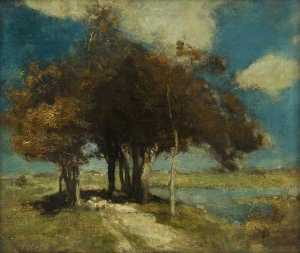 Charles Hodge Mackie - paysage avec moutons sous  arbres