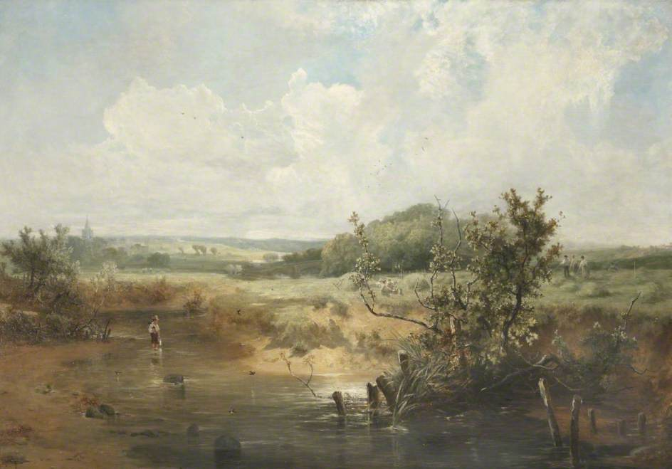 the tivey au newcastle emlyn , Cardiganshire, huile sur toile de John Wright Oakes