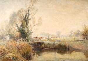 Frederick William Newton Whitehead - Pont sur the frome with hatches et les vaches , Gîte la distance