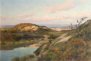Frederick William Newton Whitehead - Purbeck Bruyère , Dorset , avec l coast beyond
