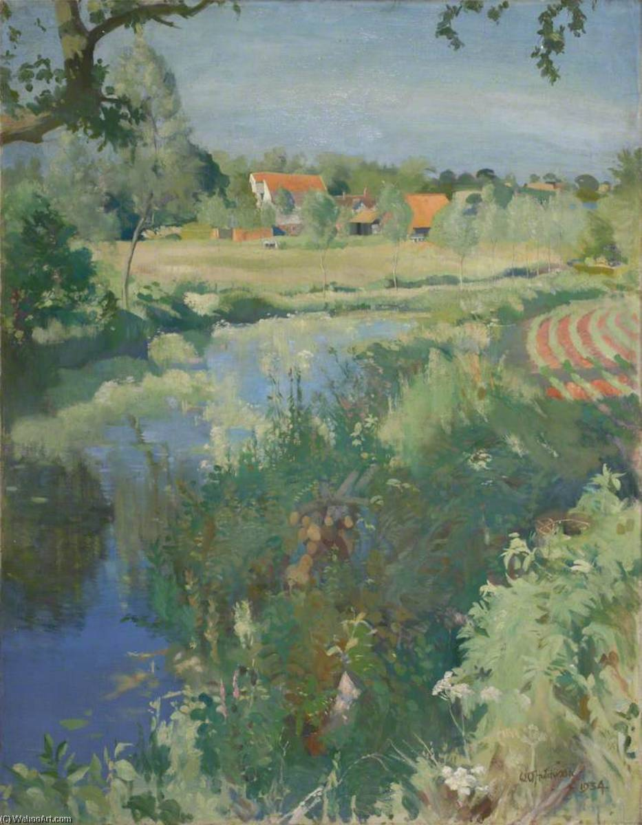 Letheringham Moulin, huile sur toile de William Oliphant Hutchison