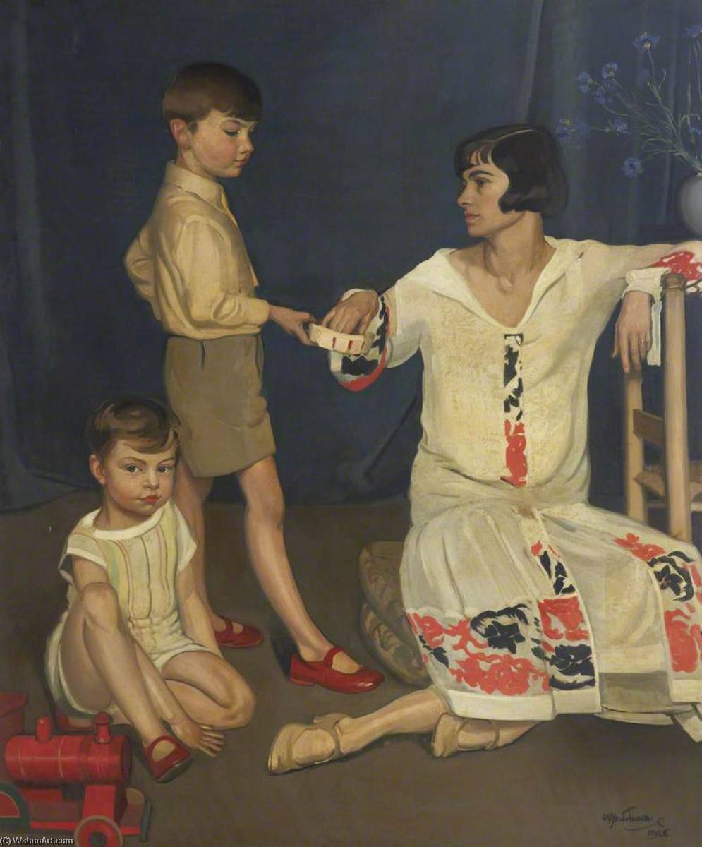 famille groupe, 1926 de William Oliphant Hutchison | Reproduction Peinture | WahooArt.com