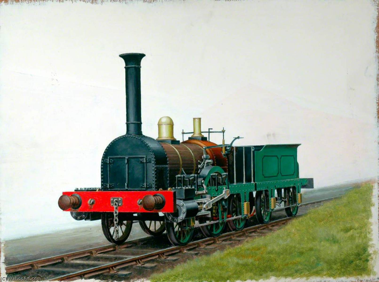2–2–2 Locomotive Construit par george forrester, Huile de Henry Maurice Whitcombe