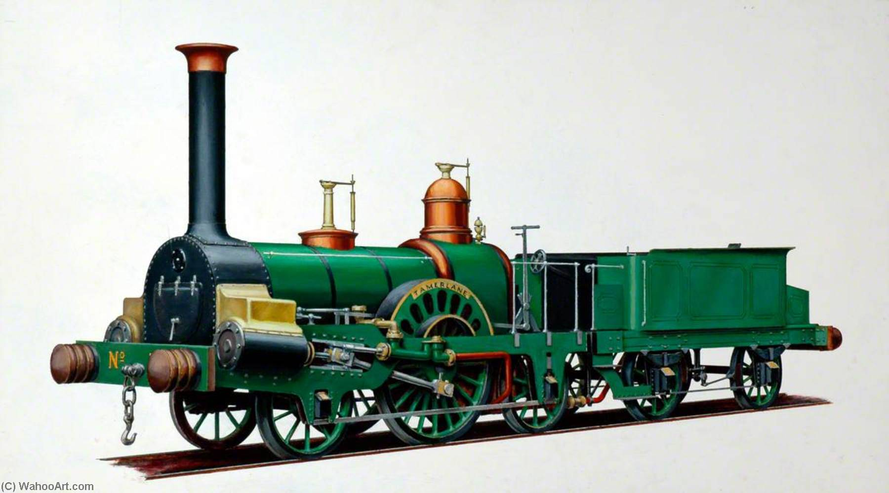 Grandiose junction railway 2–2–2 Locomotive 'Tamerlane', Huile de Henry Maurice Whitcombe