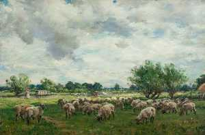 William Mark Fisher - paysage avec moutons