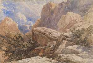 David Cox The Elder - une montagne Paysage