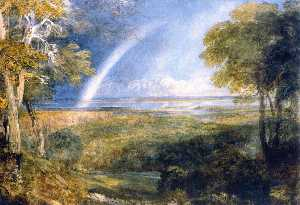 David Cox The Elder - jonction de la severn et de la wye avec un arc-en-