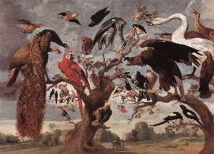 Jan Van Kessel The Elder - au simulacre  de  au  hibou