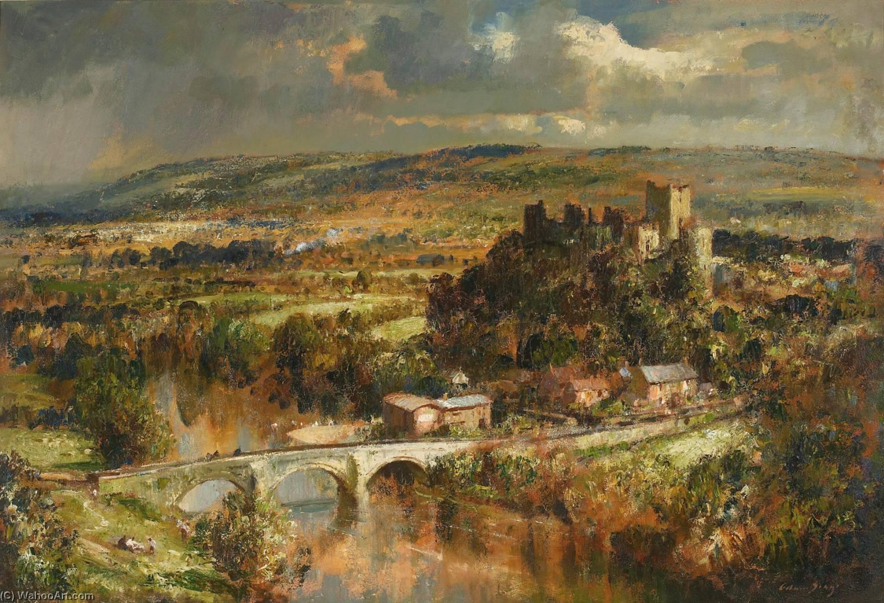 Vue d Ludlow Château de Edward Seago   Reproductions D'œuvres D'art Edward Seago   WahooArt.com