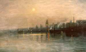 Edward Wilson Currier - san francisco Bay à Nuit , ( peinture )