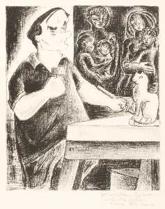 Aline Fruhauf - (Untitled william zorach carving a Chat )