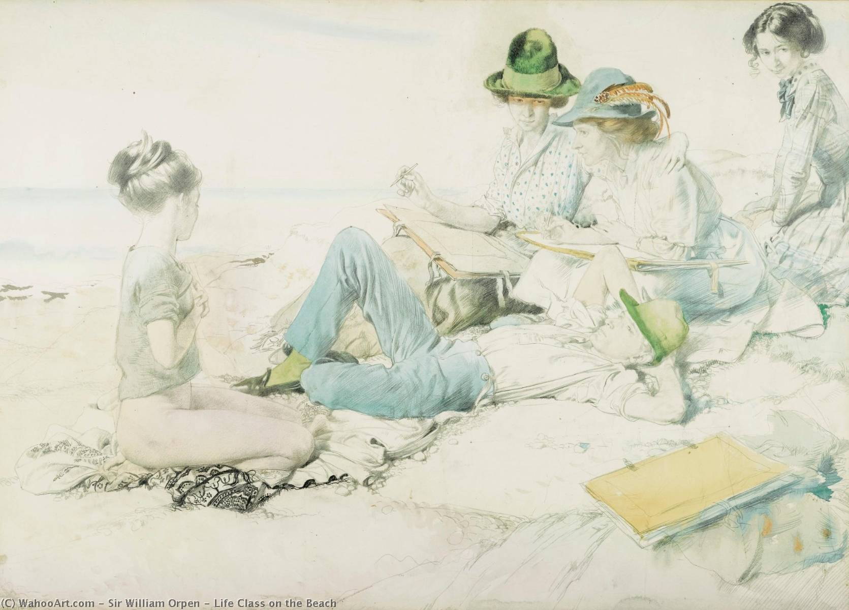 vie classe  sur  la  plage , aquarelle de William Newenham Montague Orpen (1878-1931, Ireland)