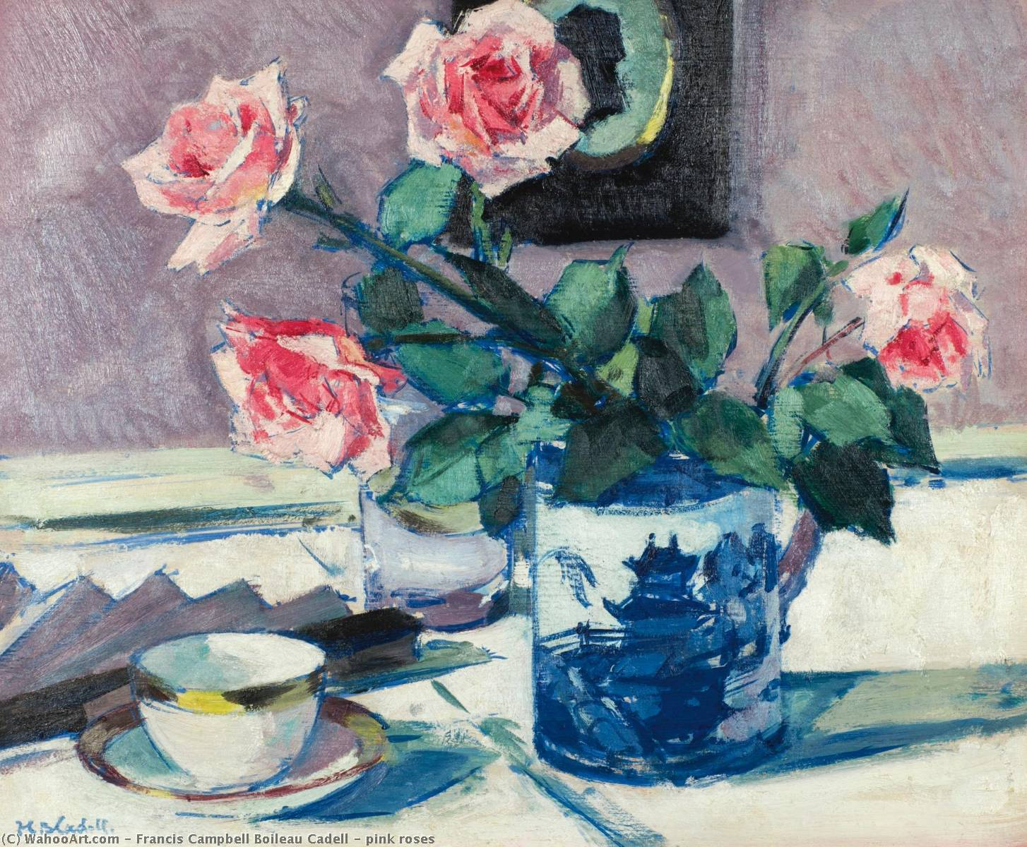 rose roses, Huile de Francis Campbell Boileau Cadell (1883-1937)