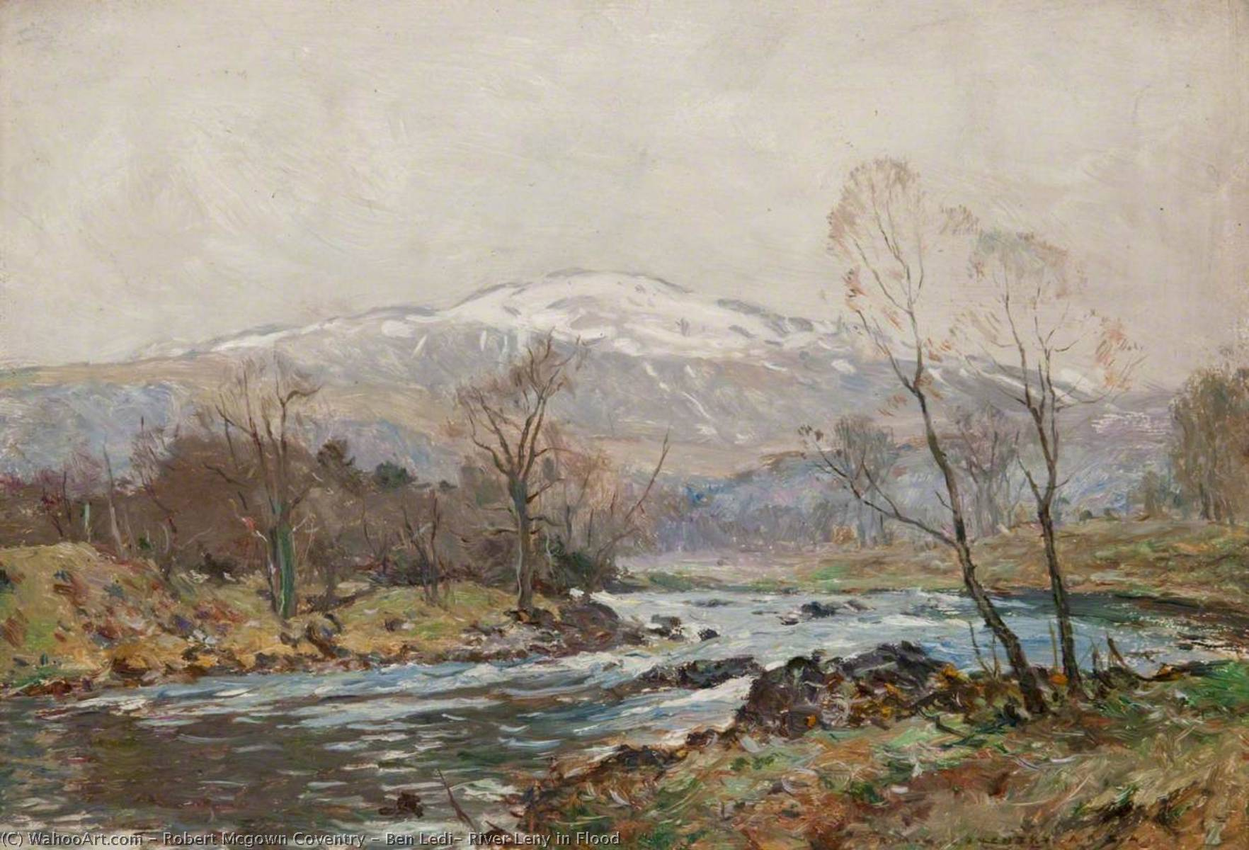 ben ledi , river leny in flood, Huile sur panneau de Robert Mcgown Coventry