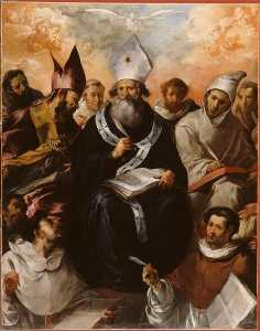 Francisco De Herrera Le Vieux - saint-basile dictant sa doctrine