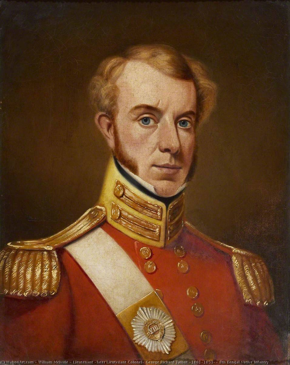 Lieutenant ( plus tard lieutenant colonel ) george richard talbot ( 1801–1853 ) , 8th Bengale infanterie nationale, huile sur toile de William Melville