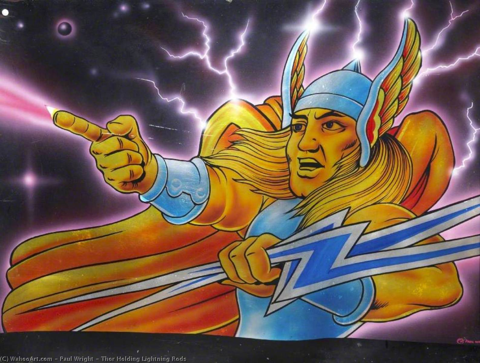 Thor La tenue lightning rods, Huile de Paul Wright
