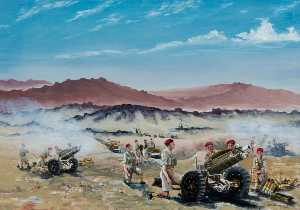 David Anthony Le Cheminant - live firing , De la palestine , 75mm Obusiers de 210 Accu , 53rd airlanding light regiment Royaux Artillerie , Septembre 1946