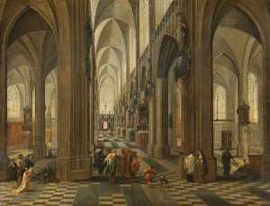 Peeter Neeffs The Younger - iintérieur de Anvers  cathédrale