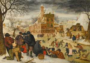 Pieter Brueghel The Younger - a paysage d-hiver avec  patins
