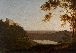 Joseph Wright Of Derby - Lac de Nemi Coucher du soleil