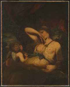 Joshua Reynolds - une nymphe et cupidon 'The Serpent dans le Grass'