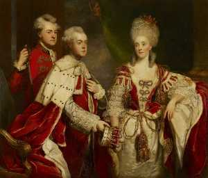 Joshua Reynolds - George , 2nd Comte Harcourt , sa femme Elizabeth , et frère William