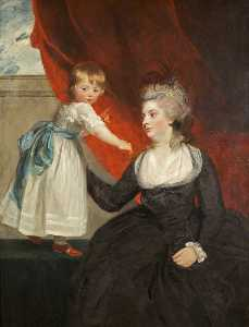 Joshua Reynolds - l-honorable frances courtenay , lady honeywood ( b . 1763 ) , et sa fille