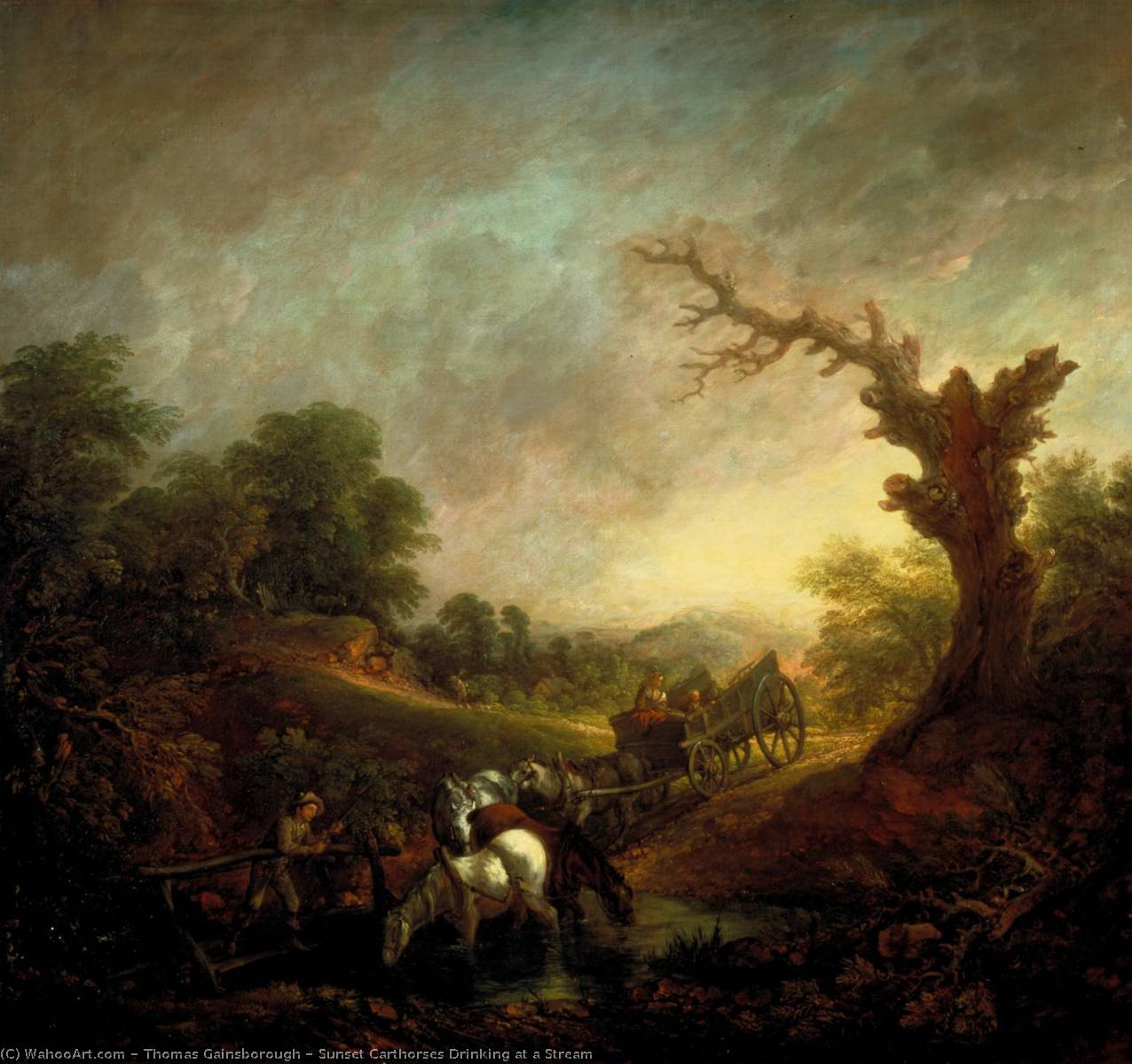 Coucher du soleil Chevaux de trait  potable  au  une  ruisseau , toiles de Thomas Gainsborough (1727-1788, United Kingdom)