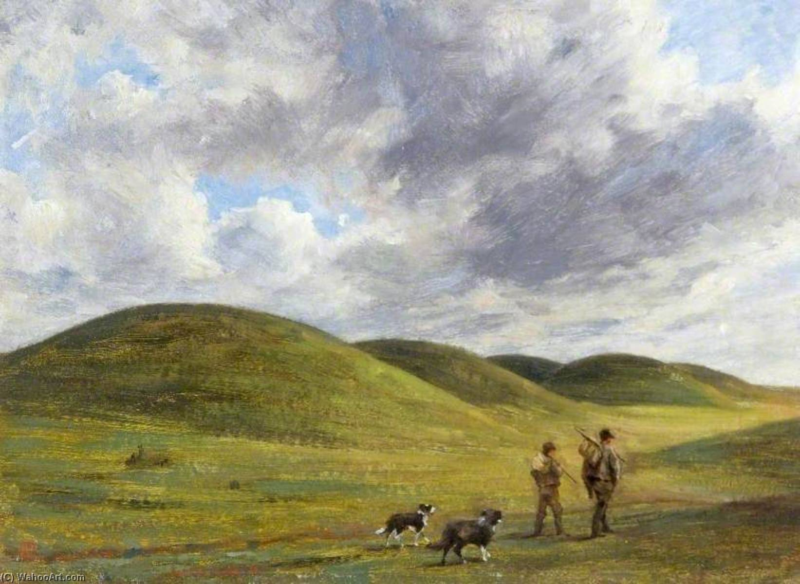barrows on beacon Colline , Wiltshire, huile sur toile de Edgar Barclay