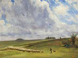 Edgar Barclay - Stonehenge , Wiltshire , barrows and parallel Banques