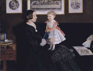 John Everett Millais - Mme . james wyatt , Jr . et son duaghter sarah